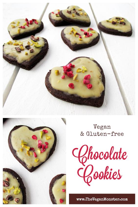 Vegan Gluten free Refined Sugar Free Chocolate Valentines Cookies Recipe P