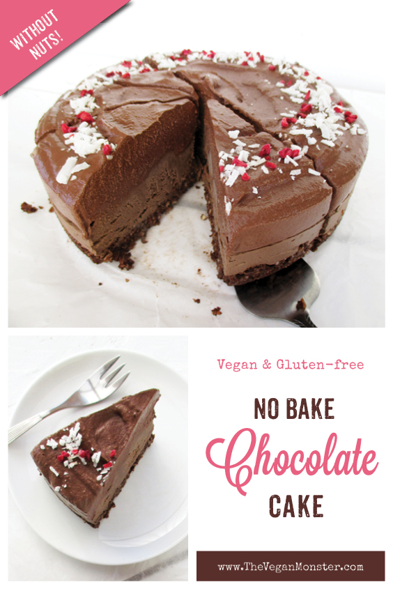 Vegan Gluten free Nut free Dairy free No Bake Raw Double Chocolate Cake Recipe P