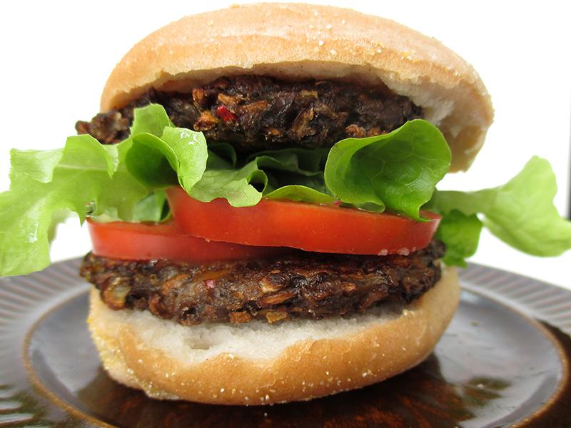 Vegan Gluten free Oil free Low Fat Mushroom Burger Recipe 1