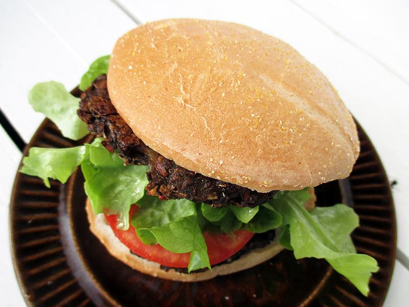 Vegan Gluten free Oil free Low Fat Mushroom Burger Recipe 2