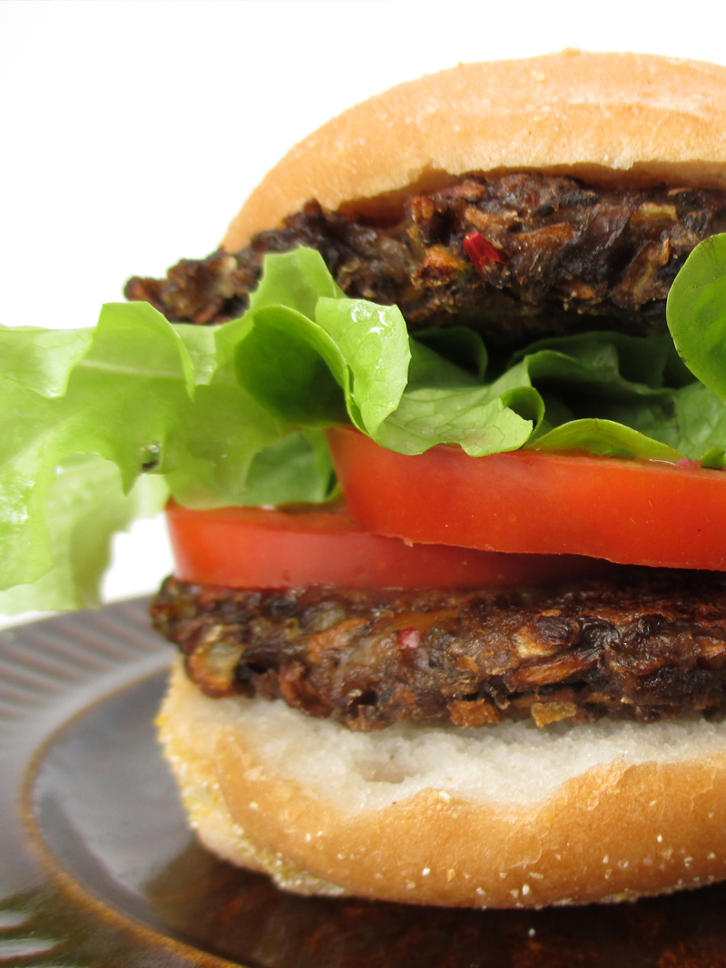 Vegan Gluten free Oil free Low Fat Mushroom Burger Recipe 3
