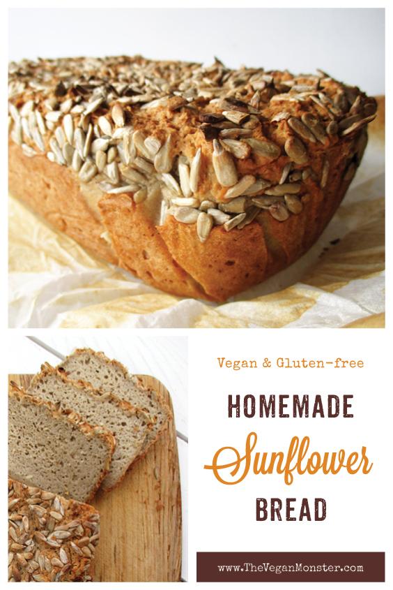 Vegan Gluten free Dairy free Egg free Oil free Sunflower Seed Bread Recipe P