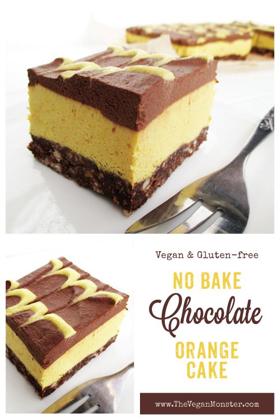 Vegan Gluten free Raw No Bake Orange Chocolate Cake Slices Recipe P