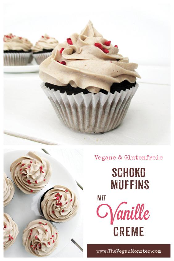 Vegane Glutenfreie Milchfreie Eifreie Nuss Milch Mehl Schokoladen Muffins Mit Vanille Creme Haeubchen Ohne Soja Ohne Zucker Rezept P1