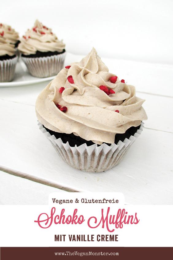 Vegane Glutenfreie Milchfreie Eifreie Nuss Milch Mehl Schokoladen Muffins Mit Vanille Creme Haeubchen Ohne Soja Ohne Zucker Rezept P2