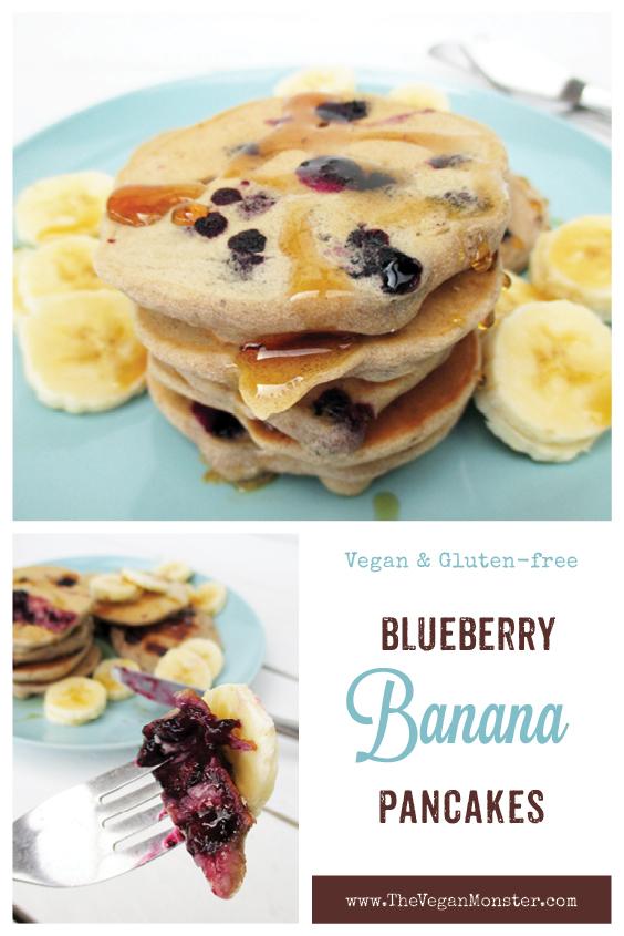 Vegan Gluten free Egg free Dairy free Sugar free Blueberry Banana Pancakes Recipe P