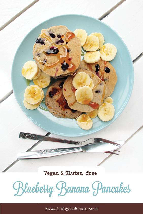 Vegan Gluten free Egg free Dairy free Sugar free Blueberry Banana Pancakes Recipe P2