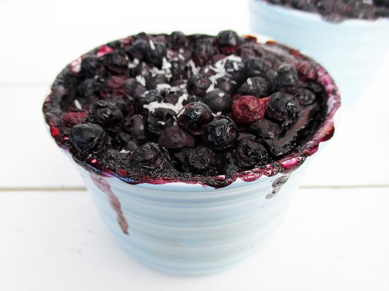 Vegan Gluten free Refined Sugar Free Chocolate Blueberry Mug Cake Pudding Recipe 1