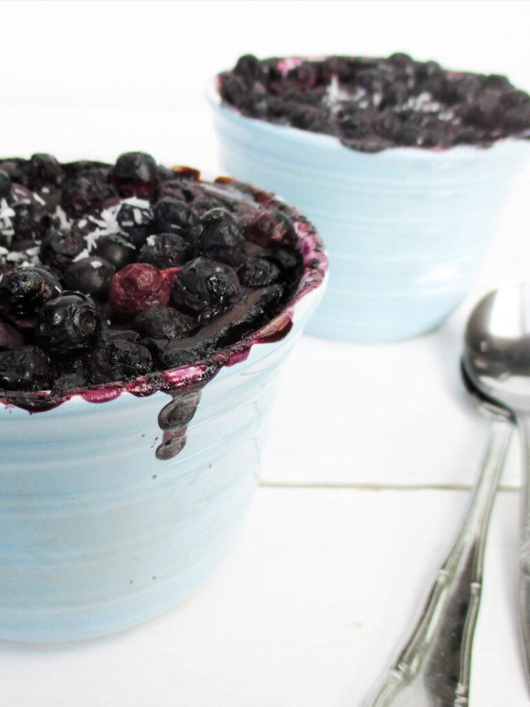 Vegan  Gluten-free Refined Sugar-Free Chocolate Blueberry Mug Cake Pudding Recipe