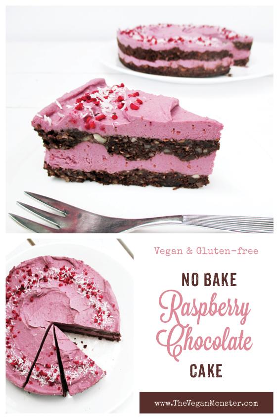 No Bake Raspberry Vanilla Cake Torte Vegan Gluten free Dairy free Egg free Recipe P