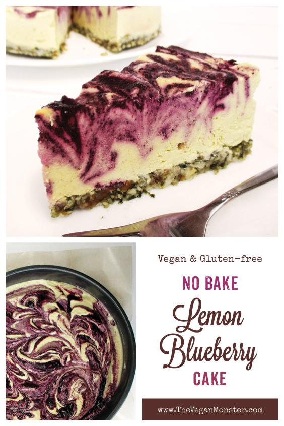 No Bake Vegan Gluten free Refined Sugar Free Lemon Blueberry Cake Recipe P