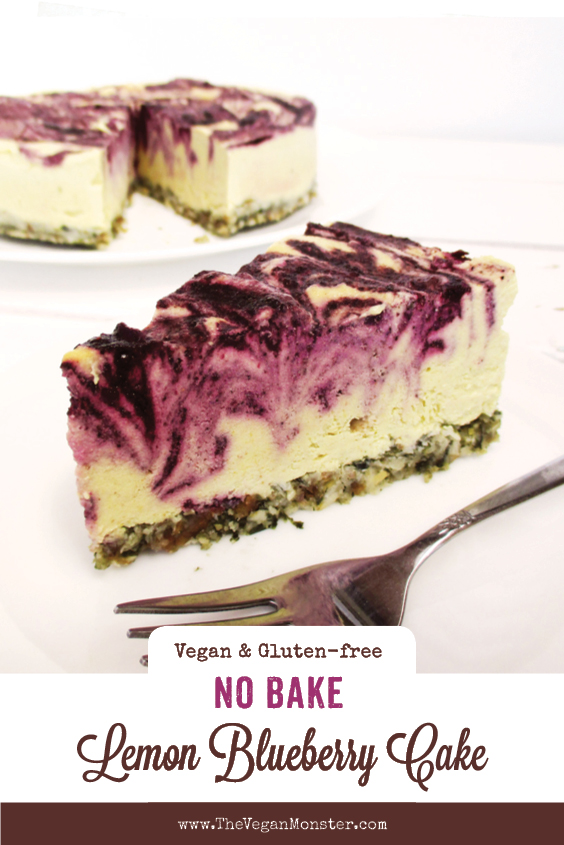 No Bake Vegan Gluten free Refined Sugar Free Lemon Blueberry Cake Recipe P2