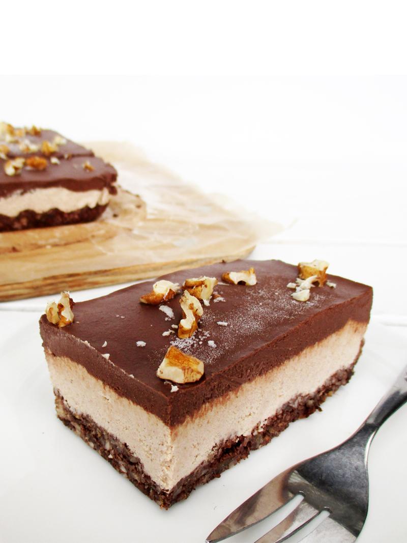No Bake Vegan Gluten free Refined Sugar Free Walnut Chocolate Cake Slice Recipe 4