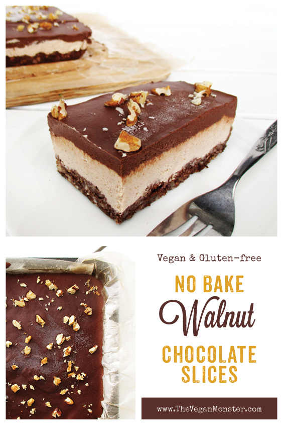 No Bake Vegan Gluten free Refined Sugar Free Walnut Chocolate Cake Slice Recipe P