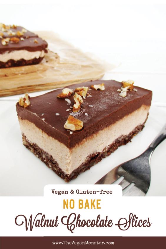 No Bake Vegan Gluten free Refined Sugar Free Walnut Chocolate Cake Slice Recipe P2