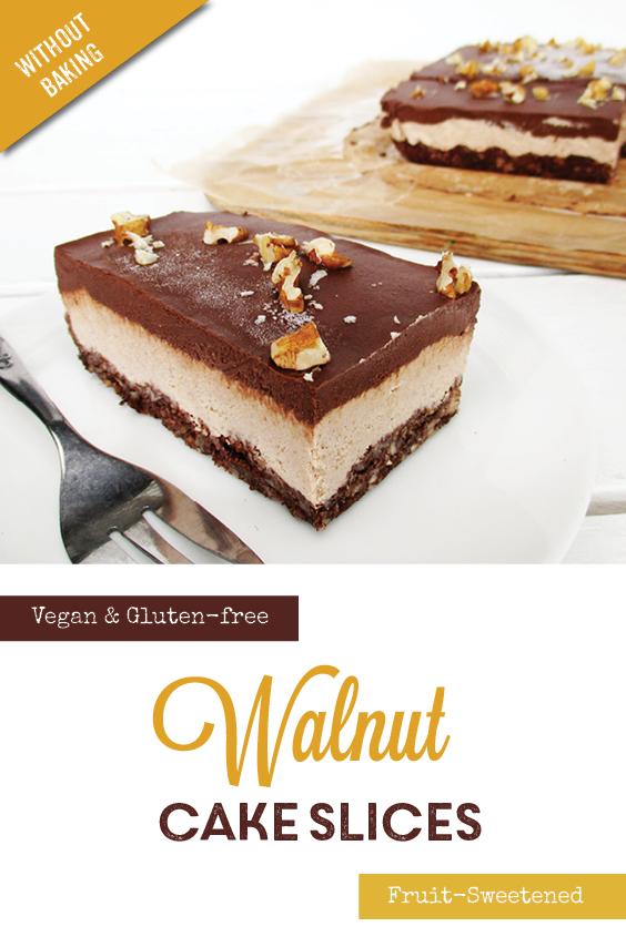 No Bake Vegan Gluten free Refined Sugar Free Walnut Chocolate Cake Slice Recipe P3