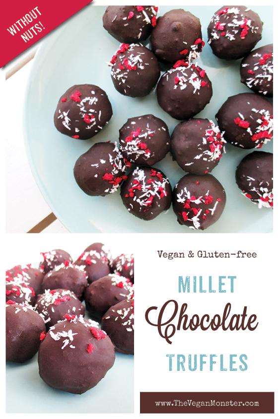 Vegan Gluten free Refined Sugar Free Fruit Sweetened Nut free Soy free Millet Chocoloate Balls Truffles Recipe P