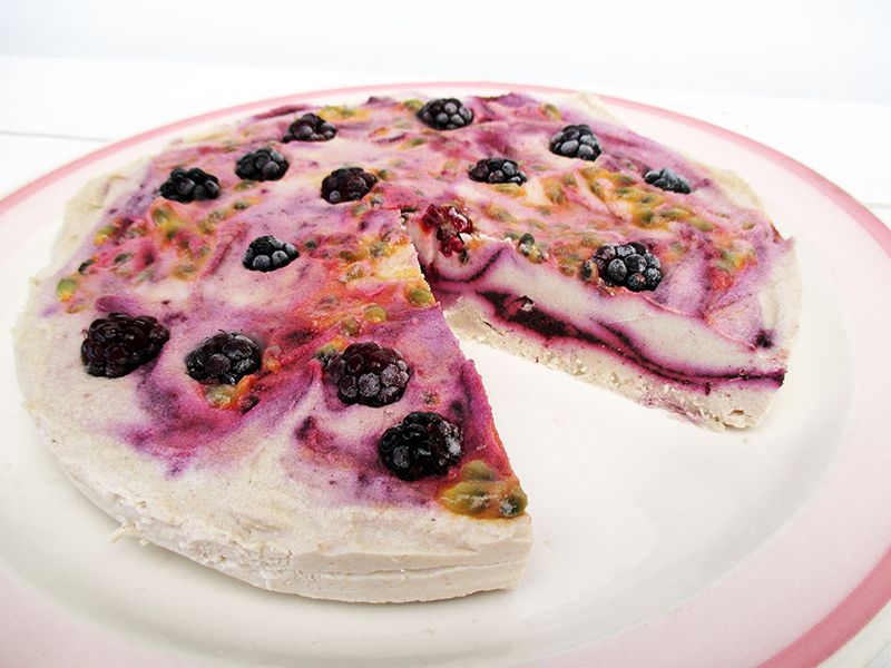 No Bake Vegan Gluten free Refined Sugar Free Raw Berry Passion Macadamia Cake Recipe 2