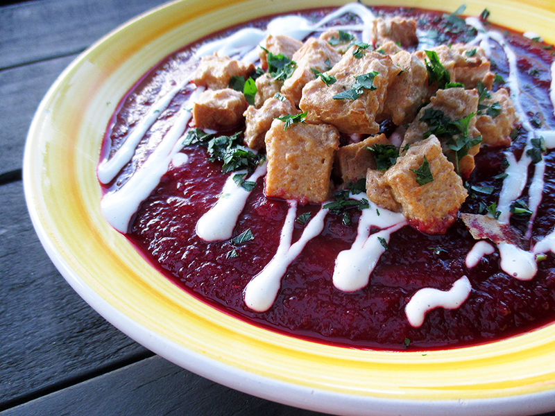 Vegan Gluten free Roasted Pumpkin Beetroot Soup With Cheesy Croutons Recipe 2