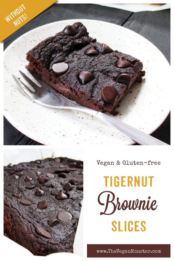 Vegan Gluten free Oil free Egg free Dairy free Tigernut Chocolate Brownie Slice Recipe P