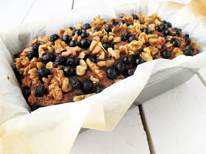 Vegan Gluten free Banana Walnut Blueberry Loaf Without Refined Sugar Recipe 0