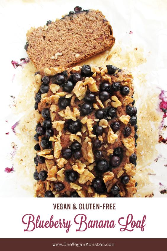 Vegan Gluten free Banana Walnut Blueberry Loaf Without Refined Sugar Recipe P