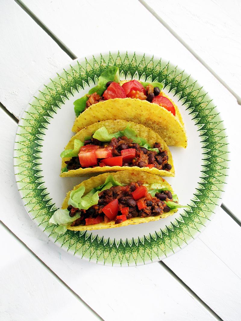 Vegane Glutenfreie Scharfe Bohnen Taco Rezept 1