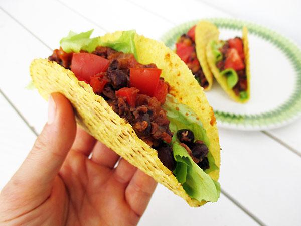Vegane Glutenfreie Scharfe Bohnen Taco Rezept 2
