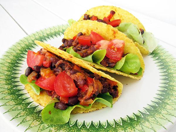 Vegane Glutenfreie Scharfe Bohnen Taco Rezept 3