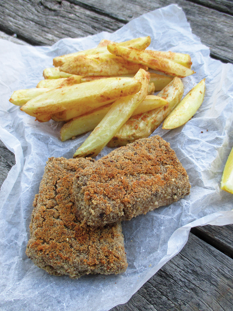 Vegan Gluten free Oil free Tofish And Chips Recipe 3