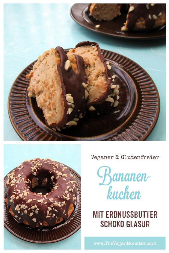 Veganer Glutenfreier Bananen Kuchen Mit Erdnussbutter Schokoladen Glasur Rezept 2