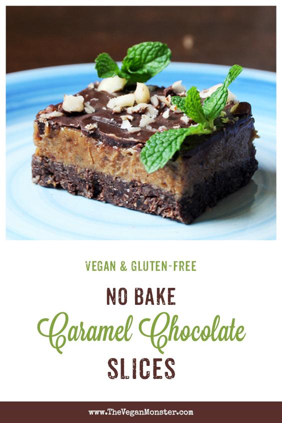 Vegan Gluten free No Bake Caramel Chocolate Slice Recipe 1