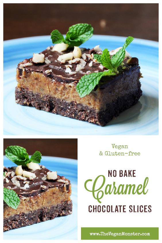 Vegan Gluten free No Bake Caramel Chocolate Slice Recipe 2