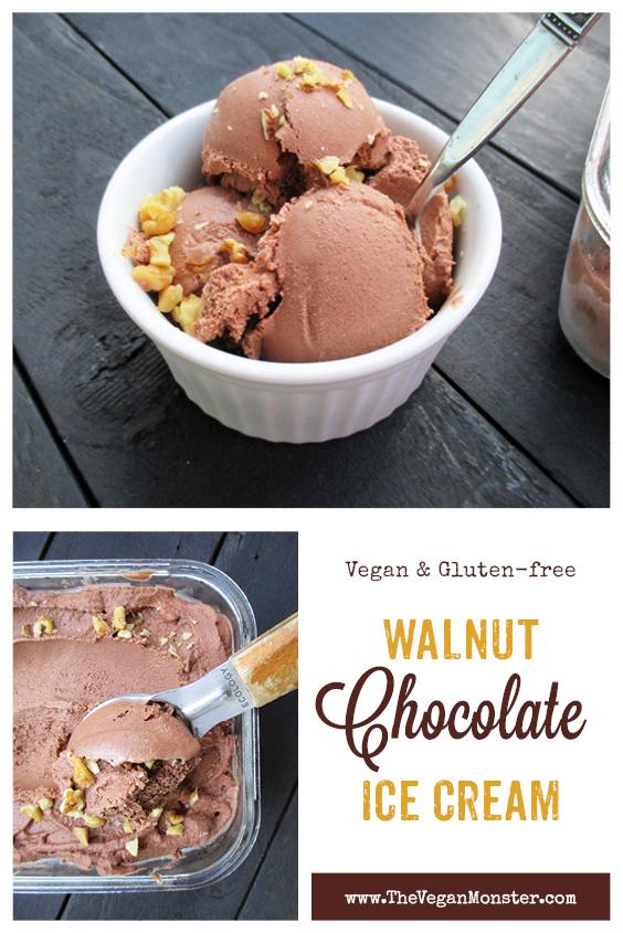 Vegan Gluten-free Refined Sugar Free Dairy-free Walnut Chocolate Ice Cream Recipe