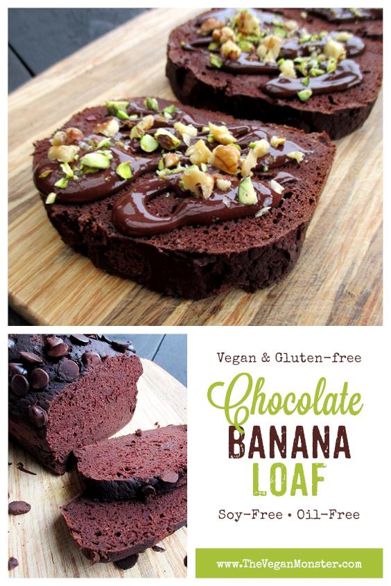 Vegan Gluten-free Oil-free Banana Chocolate Loaf Recipe