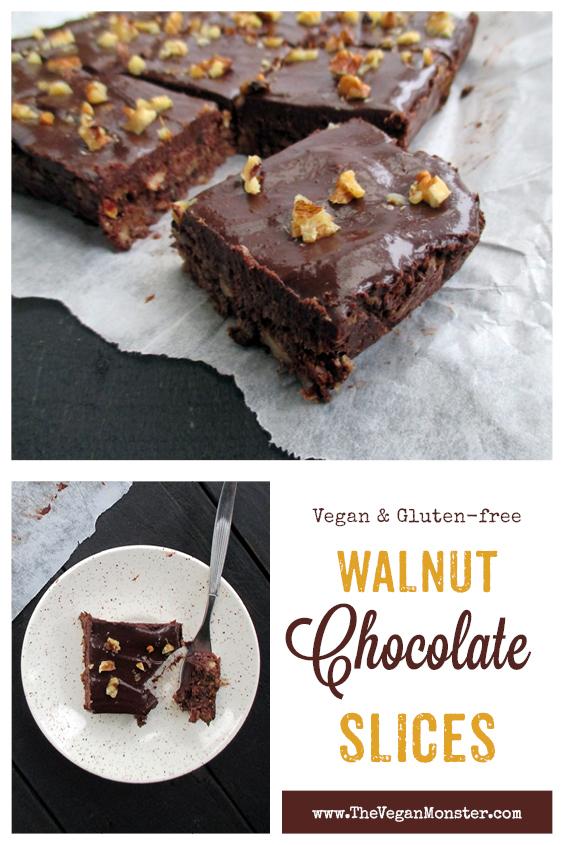 Vegan Gluten-free Refined Sugar Free Easy No Bake Walnut Chocolate Slice Recipe