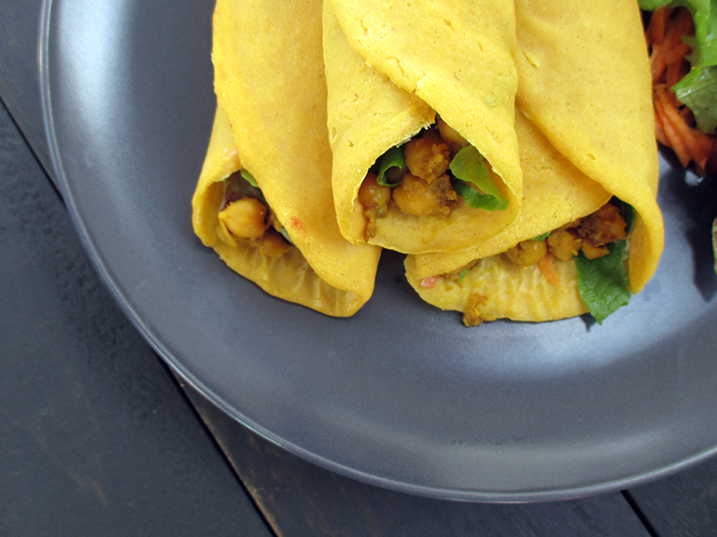 Pumpkin Wraps with Spicy Chickpeas (Vegan, Gluten-free, No Added Oil)