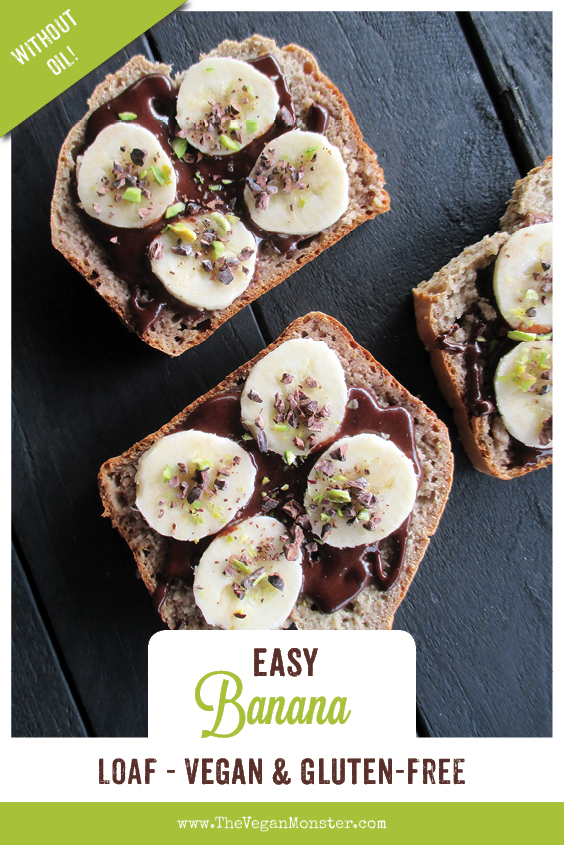 Easy Vegan Gluten free Banana Loaf Without Refined Sugar Oil free Recipe P