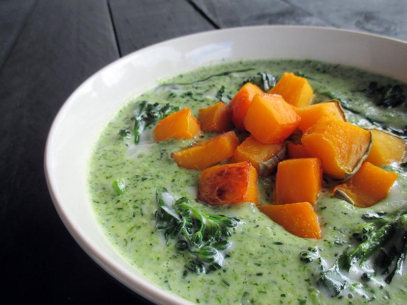 Vegan Gluten free Nut free Creamy Broccoli Soup With Roasted Pumpkin recipe 1