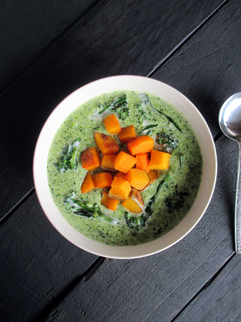 Creamy Broccoli Soup with Roasted Pumpkin (Vegan, Gluten-free, Nut-free)