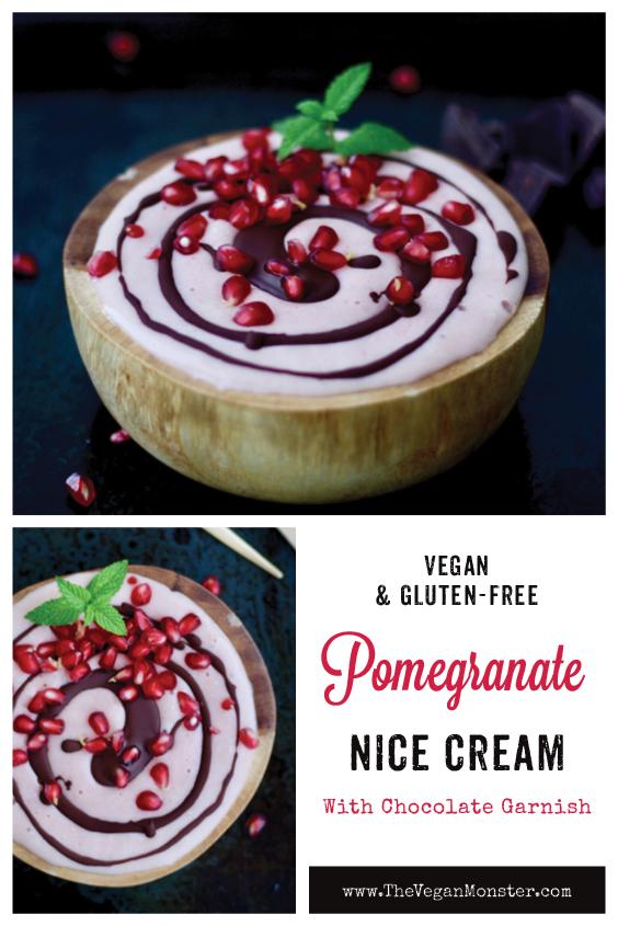 Vegan Gluten free Pomegranate Nice Cream With Chocolate Garnish Recipe P