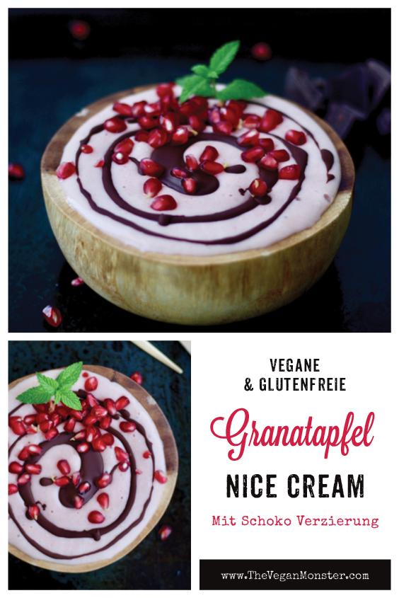 Vegane Glutenfreie Granatapfel Nicecream mit Schokoverzierung P1