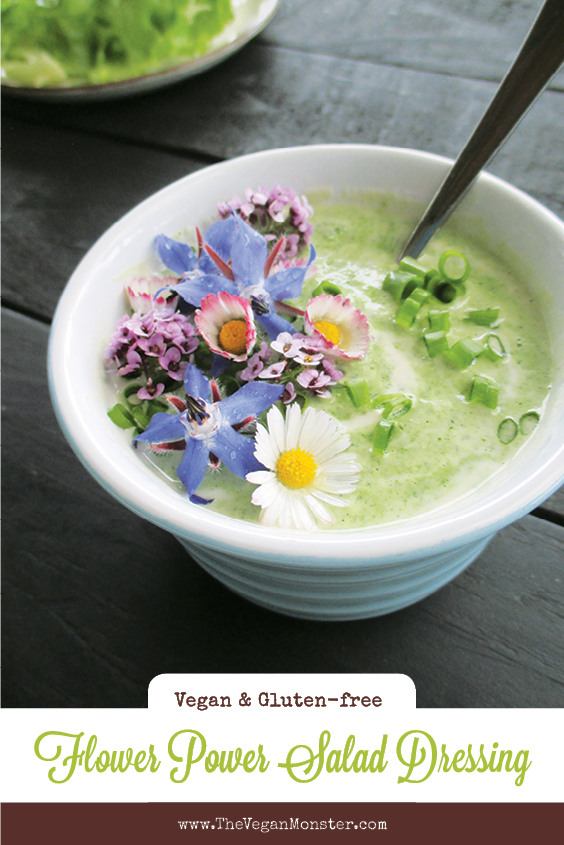 Vegan Gluten free Dairy free Super Easy Herb And Flower Power Yogurt Salad Dressing P