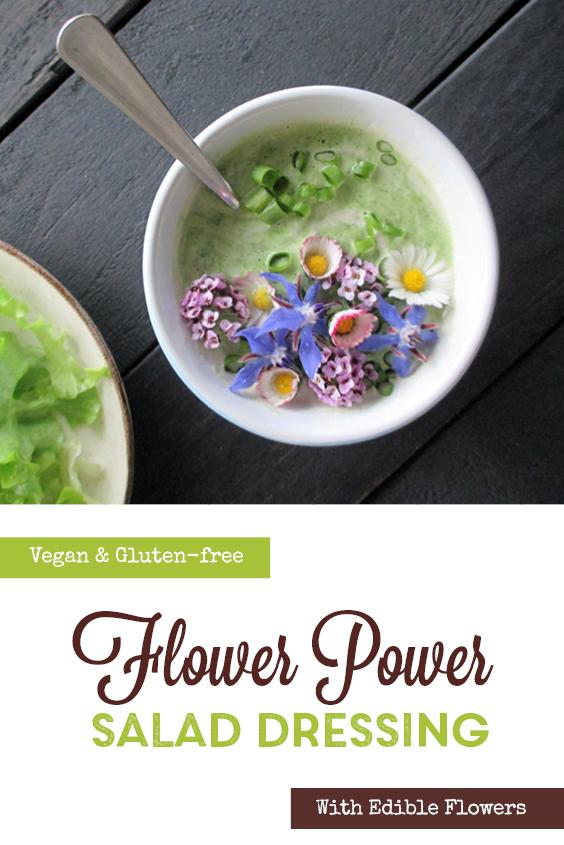 Vegan Gluten free Dairy free Super Easy Herb And Flower Power Yogurt Salad Dressing P2