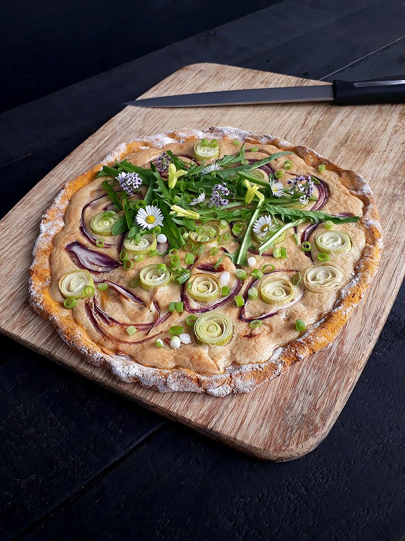 Vegan Gluten free Yeast free Dairy free Tarte Flambee Pizza Recipe 3