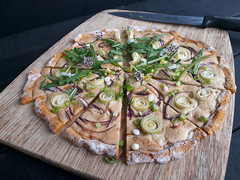 Vegan Gluten free Yeast free Dairy free Tarte Flambee Pizza Recipe 4