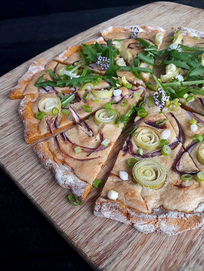 Vegan Gluten free Yeast free Dairy free Tarte Flambee Pizza Recipe 5