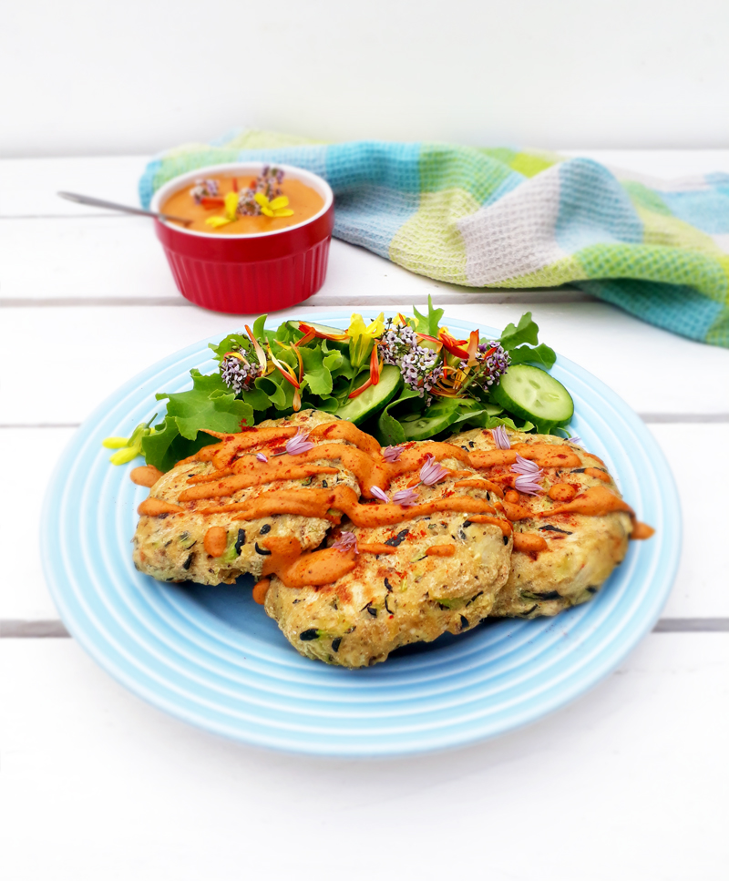 Vegan Gluten free Oil free Zucchini Fritters With Paprika Sauce Recipe 1