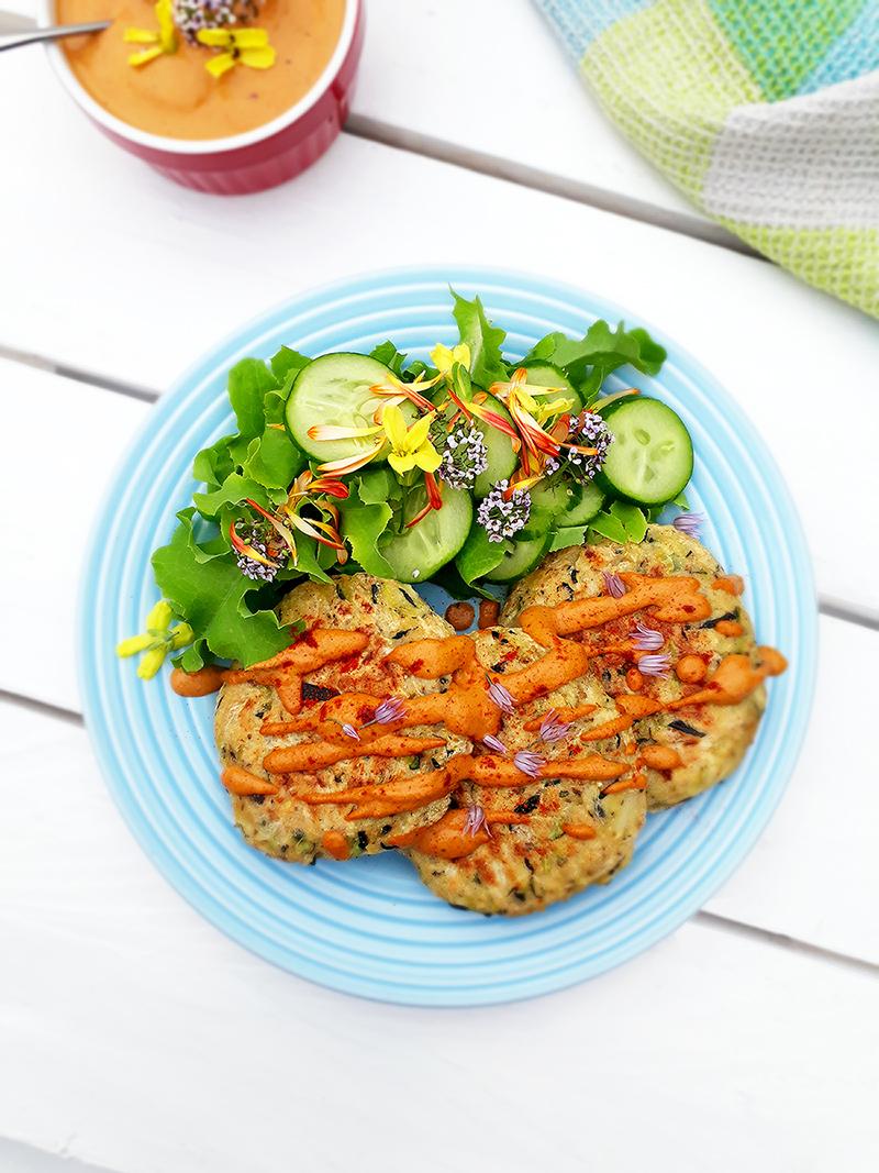 Vegan Gluten free Oil free Zucchini Fritters With Paprika Sauce Recipe 2