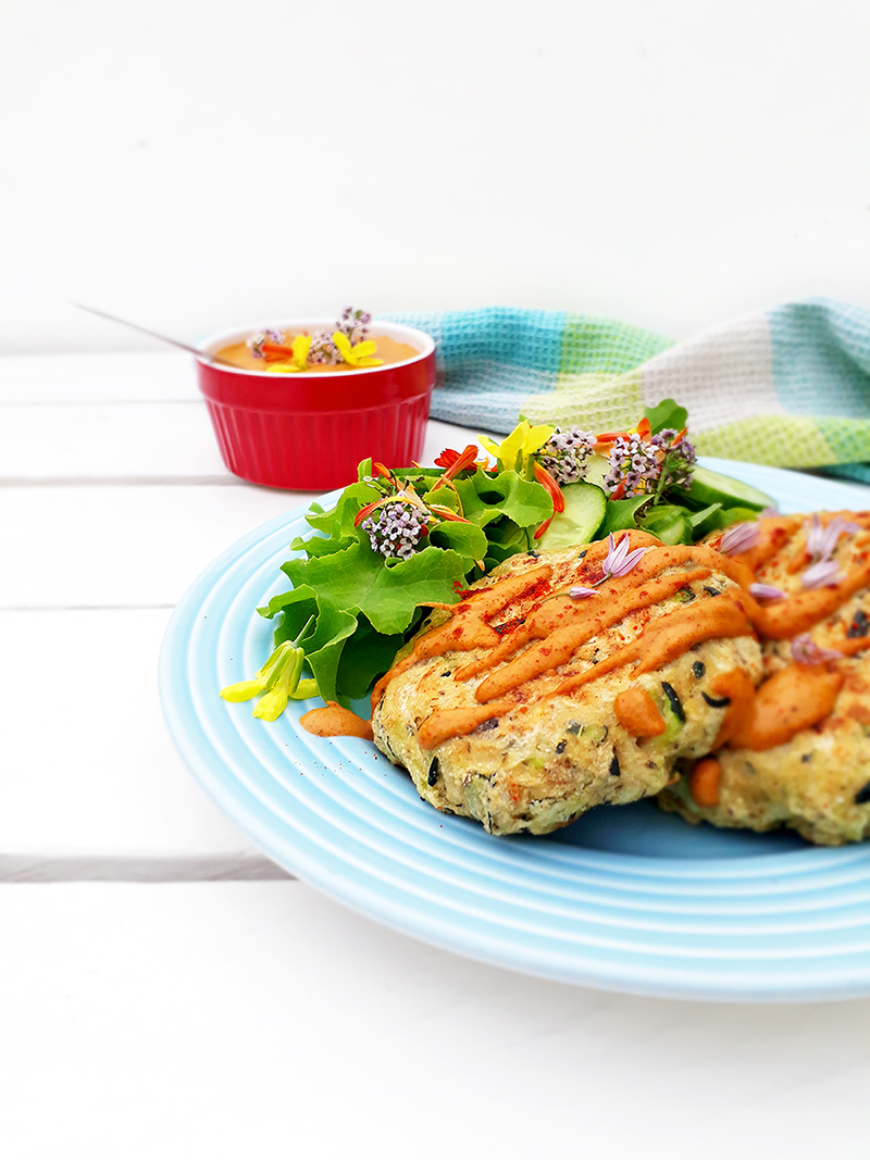 Vegan Gluten free Oil free Zucchini Fritters With Paprika Sauce Recipe 3